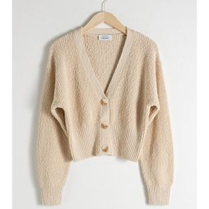 & Other Stories - Cropped Textured Cotton Cardigan